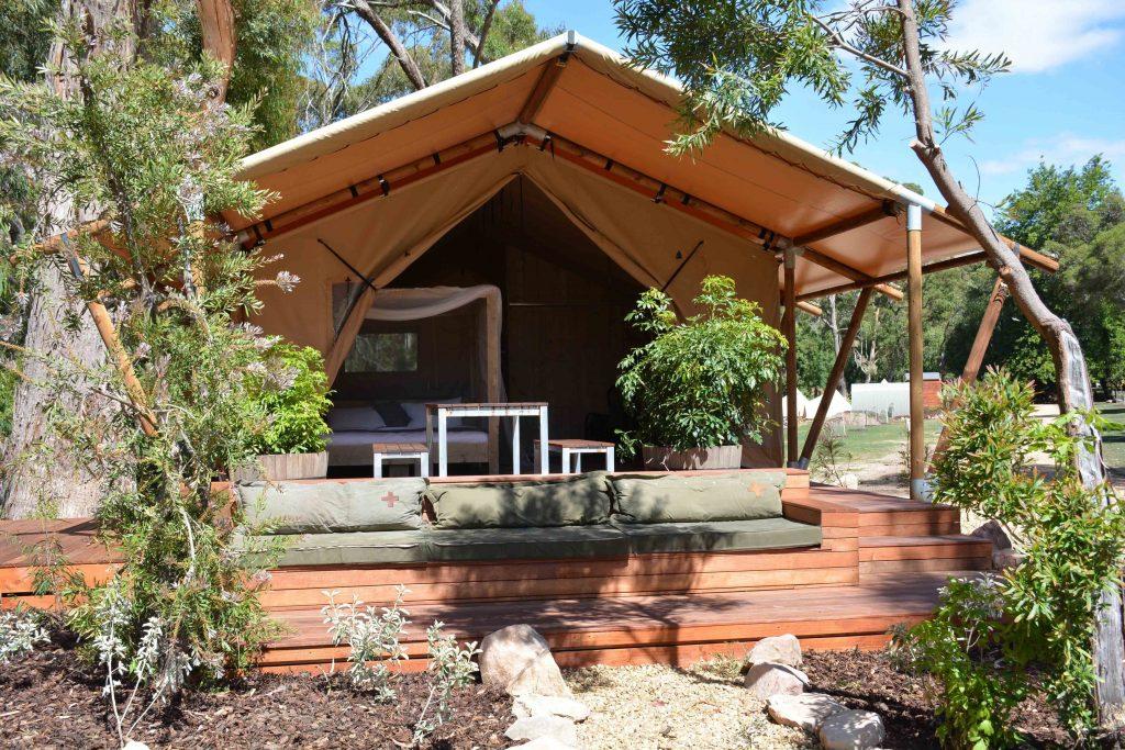 Safari Tents Deck with seat